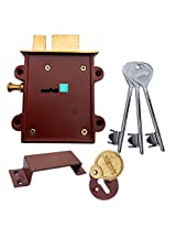 RAMSON Dyna Queen 8 Levers 125 mm 3 Keys Double Chal Door Inter Lock with a Towerbolt ( 2 in One) Operated From both side of the Door. (Brass)