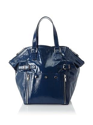 Yves Saint Laurent Women's Patent Leather Downtown Bag, Blue