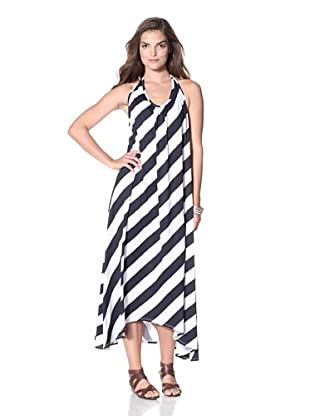 JOSA Tulum Women's Striped Halter Cover-Up with Open Back (Navy Stripe)