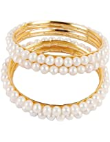 Trendy Souk ---Pretty White 2 strings Real Freshwater Hyderabadi Pearls AAA Quality Bangle Set of 2