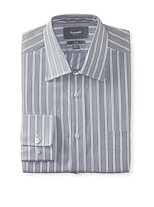 Façonnable Men's Club Fit Striped Dress Shirt (Grey)