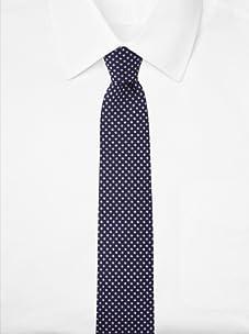 Aquascutum Men's Polka Dot Silk Tie (Navy/Purple)