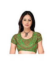 Fabfirki Brown and Green Embroidered Dupian Blouse