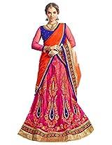 Manvaa Pink Orange And Blue Net Embroidered Lehenga