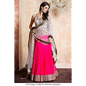 Bollywood Replica Model Net and Georgette Lehenga In Magenta and Grey Colour NC1044