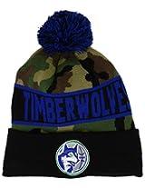 "Minnesota Timberwolves New Era NBA HWC Knit Pom Beanie Cap Hat ""Jake Camo"" (One Size, Camo-Black-Blue)"