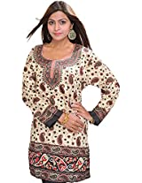 Exotic India Casual Kurti with Printed Paisleys - Color BlackGarment Size Free Size