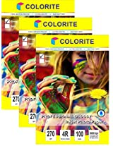 """Colorite 270 gsm 4R (4""""x6"""") /100 Sheets x 3 PACK COMBO (TOTAL 300 Sheets) Professional Glossy RC WATERPROOF Inkjet Photo Paper"""