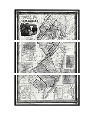 Oliver Gal Squires Map of New Jersey 1836 Triptych Canvas Art