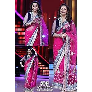 Madhuri dixit bollywood pink net saree-Frinkytown