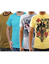 Funktees 100% Cotton Round Neck M Size T-shirt - Pack of 4