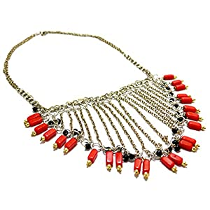 Daamak Jewellery Chain Necklace With Red Beads