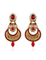 I Jewels Traditional Gold Plated Chand Shaped Earrings for Women E2238R (Red)