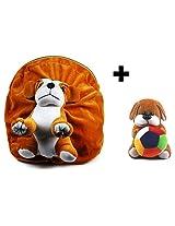 Rushi Enterprise Combo Dog Cute Teddy Soft Toy School Bag for kids, Travelling Bag, Carry Bag, Picnic Bag, Teddy Bag (Brown)