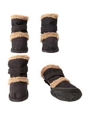 Pet Life Shearling Duggz Dog Shoes (Black/Beige)