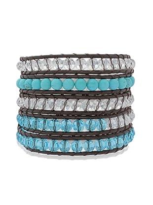 Lucie & Jade Echtleder-Armband rek. Türkis, Glaskristall dunkelbraun/türkis/weiß/hellblau