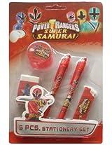 Power Rangers Stationery Set - Design 1, Red (5 Piece)