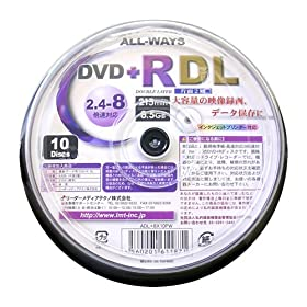 ALL-WAYS DVD+RDL8.5GB��2�w�����C�h�v�����^�u��2.4-8�{���X�s���h���P�[�X10����� ADL+8X10PW
