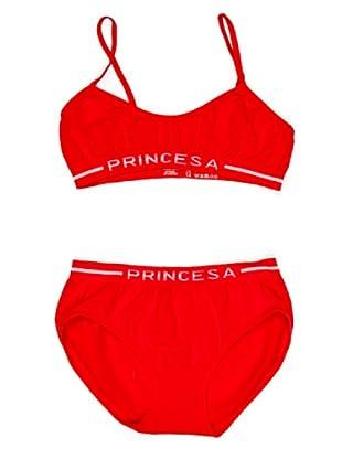 Princesa Conjunto Top Y Braguita Seamless (Sin Costuras) De Algodón (Rojo)