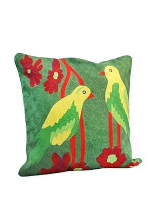 Modelli Creations Yellow Bird Crewel Work Pillow, Green