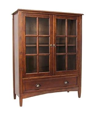 Charleston Bookcase With Glass Door, Brown