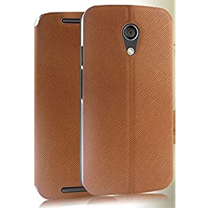 Pudini XIN Series Premium Leather Flip Stand Case Cover for Moto G2 Moto G 2nd Gen XT1068 Squirell Patterned- BROWN - Free Clear Screenguard