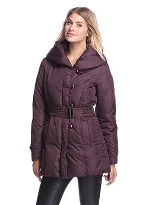 Ivanka Trump Women's Belted Puffer Coat (Burgundy)