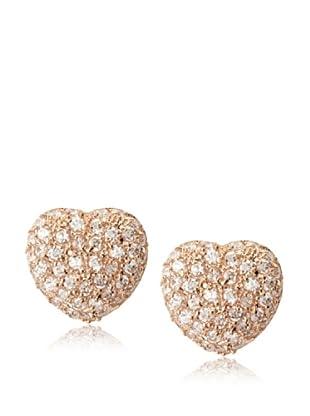 CZ By Kenneth Jay Lane Pavé Heart Button Earrings