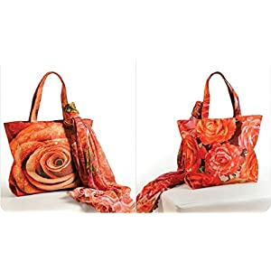 Shopping World Faux Silk With Shiffon Stole Hand Bag - Roses