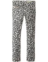 Diesel Big Girls' Livier Super Slim Fit Jegging Superstretch Garment Dyed Animal Print Jean, High Rise Grey, 7 Years