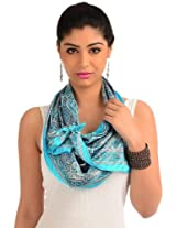 Turquoise blue printed readymade stole
