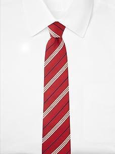 Aquascutum Men's Triple Stripe Silk Tie (Red/White/Navy)