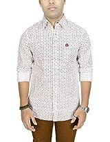 AA' Southbay Men's Cream 100% Cotton Printed Long Sleeve Casual Shirt