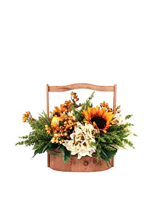 Creative Displays Sunflower, Hydrangea & Berry in Wooden Basket