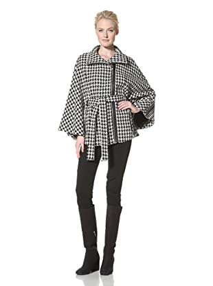 Calvin Klein Women's Houndstooth Belted Cape (Black/White)