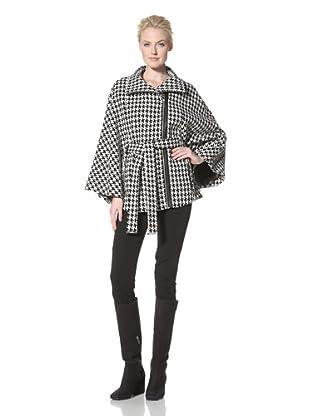 Calvin Klein Women's Houndstooth Belted Cape (Black/White)