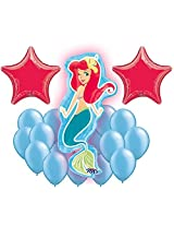 Disney The Little Mermaid Ariel Princess Mylar And Latex Balloons Bouquet (18 Pcs)