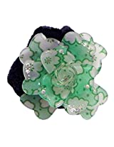DollsofIndia White and Light Green Acrylic Flower Hair Band - Acrylic - Green