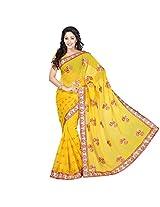 Chandra Silk Mills Yellow Fancy Saree