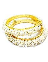Trendy Souk- Pirayeh Kaada Style Single Line Real Freshwater Hyderabadi Pearl AAA Quality Bangles (Set Of 2)