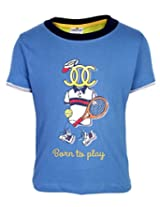 Ollypop T-Shirt Half Sleeves Born To Play Print - Blue