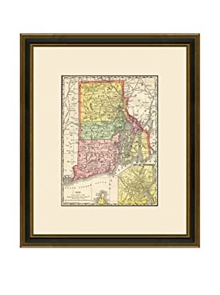 Antique Lithographic Map of Rhode Island, 1886-1899