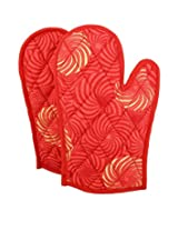 ShalinIndia Cotton Oven Mitts Printed Set of 2 Quilted Cooking Gloves,OG02-6102,Red,8 x12 Inch