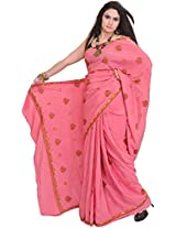 Exotic India Wild-Rose Saree from Kashmir with Sozni Embroidered Maple Le - Pink