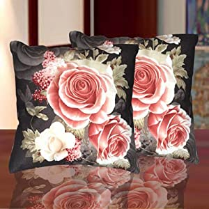 Decorvilla Stylish 3D Print Black Cushion Covers Set Of 2