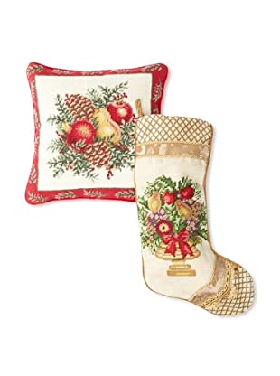 C & F Enterprises Boxwood & Pine Stocking & Pillow Set