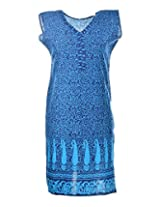 2Dots Women's Cotton Regular Fit Kurti (Lite Blue, 38 Inches)