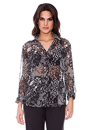 Steilmann Blusa Estampada Transparente (negro)