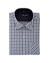 Your Desire Shirts Men Cotton Grey and Black Formal Shirt (Size 38)