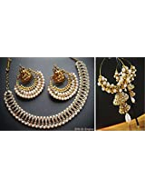 Beautiful White Ramleela Necklace Set and Double Jhumki Earrings Combo